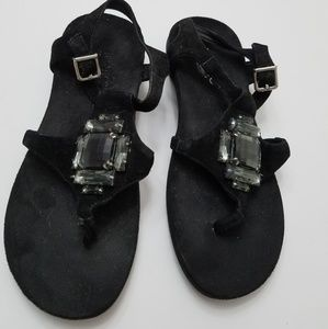 Black Vionic flat thong orthaheel sandals